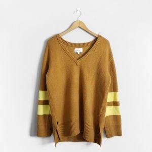 CURRENT/ELLIOTT Brown Oversized V Neck Sweater